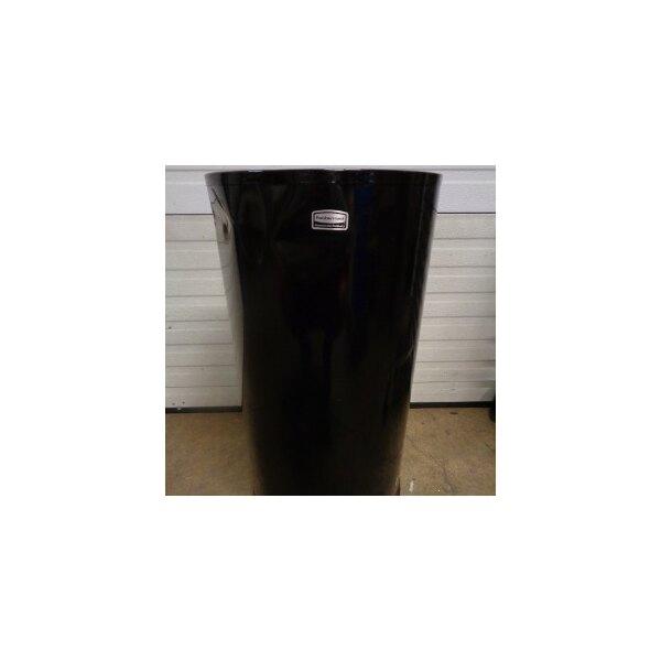 Rubbermaid FGCC16EGLBK European Black Round Open Top Steel Waste Receptacle with Galvanized Steel Liner 15 Gallon