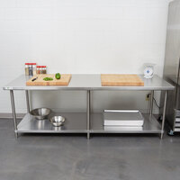 Regency Spec Line 36 inch x 96 inch 14 Gauge Stainless Steel Commercial Work Table with Undershelf