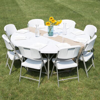 Round Folding Table, 72 inch Heavy Duty Plastic, White Granite - Lancaster Table & Seating