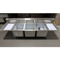 Regency 94 inch 16-Gauge Stainless Steel Three Compartment Commercial Sink with 2 Drainboards - 18 inch x 24 inch x 14 inch Bowls