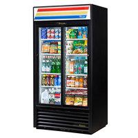 True GDM-33-HC-LD BLACK 39 1/2 inch Black Glass Sliding Door Merchandiser with LED Lighting