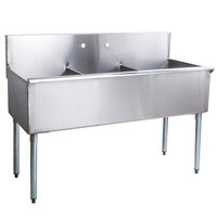 Regency 48 inch 16-Gauge Stainless Steel Three Compartment Commercial Sink without Drainboards - 16 inch x 21 inch x 14 inch Bowls