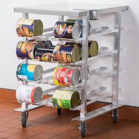 Regency CANRK72SS Half Size Mobile Aluminum Can Rack for #10 and #5 Cans with Stainless Steel Top and Mounted #1 Can Opener Base