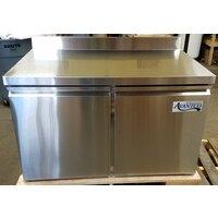 Avantco SS-WT-48R-HC 48 inch Two Door Worktop Refrigerator with 3 1/2 inch Backsplash - 11.2 cu. ft.