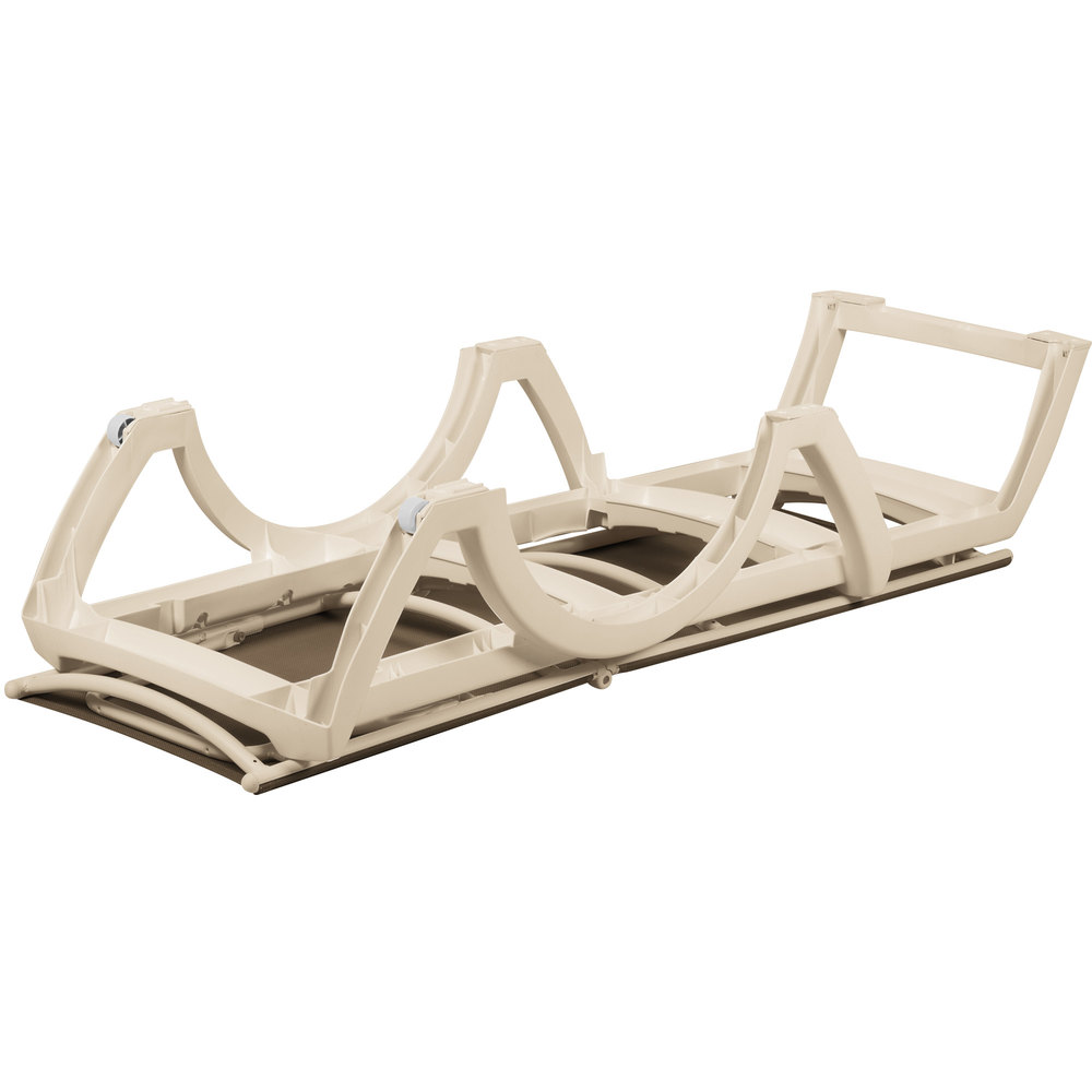 grosfillex us366181 us636181 calypso sandstone taupe stacking adjustable resin sling chaise - Grosfillex
