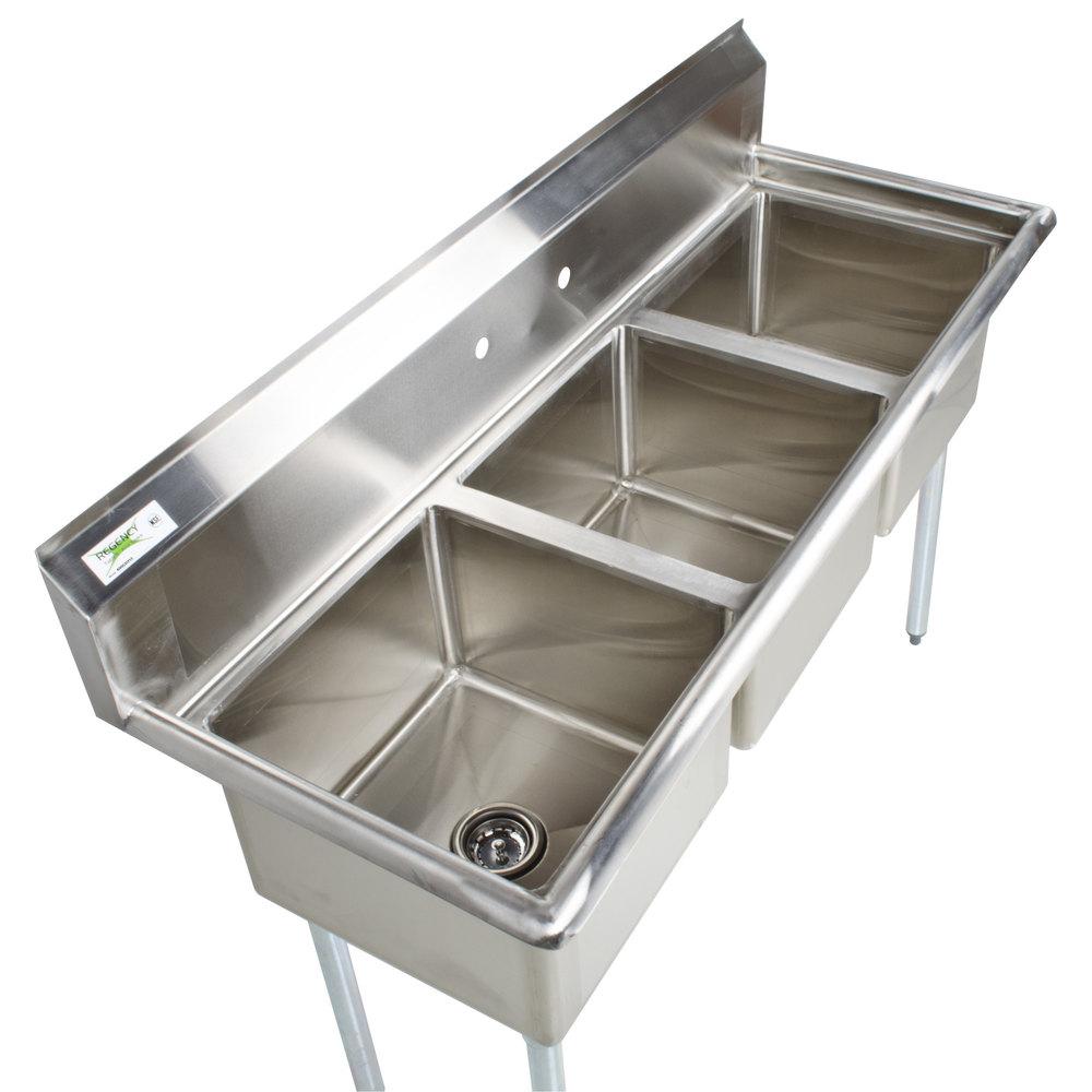 "Industrial Kitchen Sink: Regency 60"" 16-Gauge Stainless Steel Three Compartment"