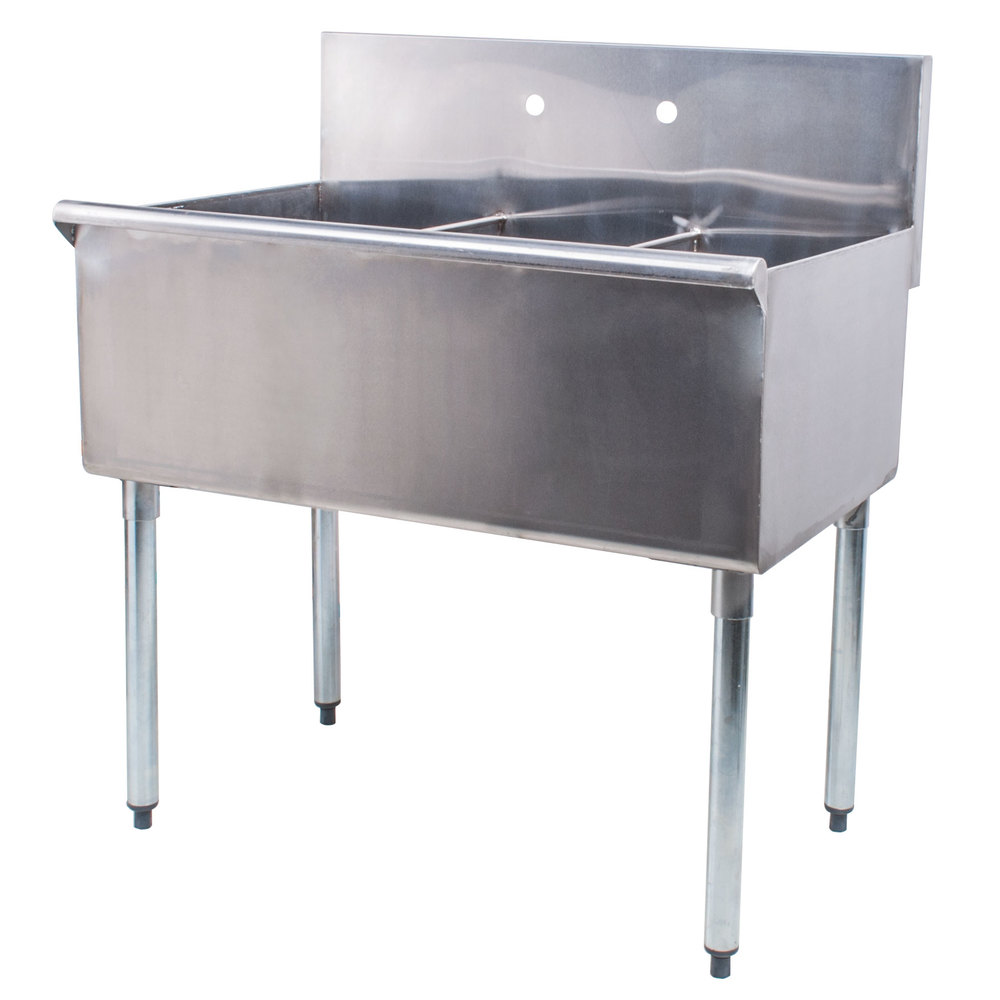 Regency 36 inch 16-Gauge Stainless Steel Three Compartment Commercial Utility Sink - 12 inch x 21 inch x 14 inch Bowls