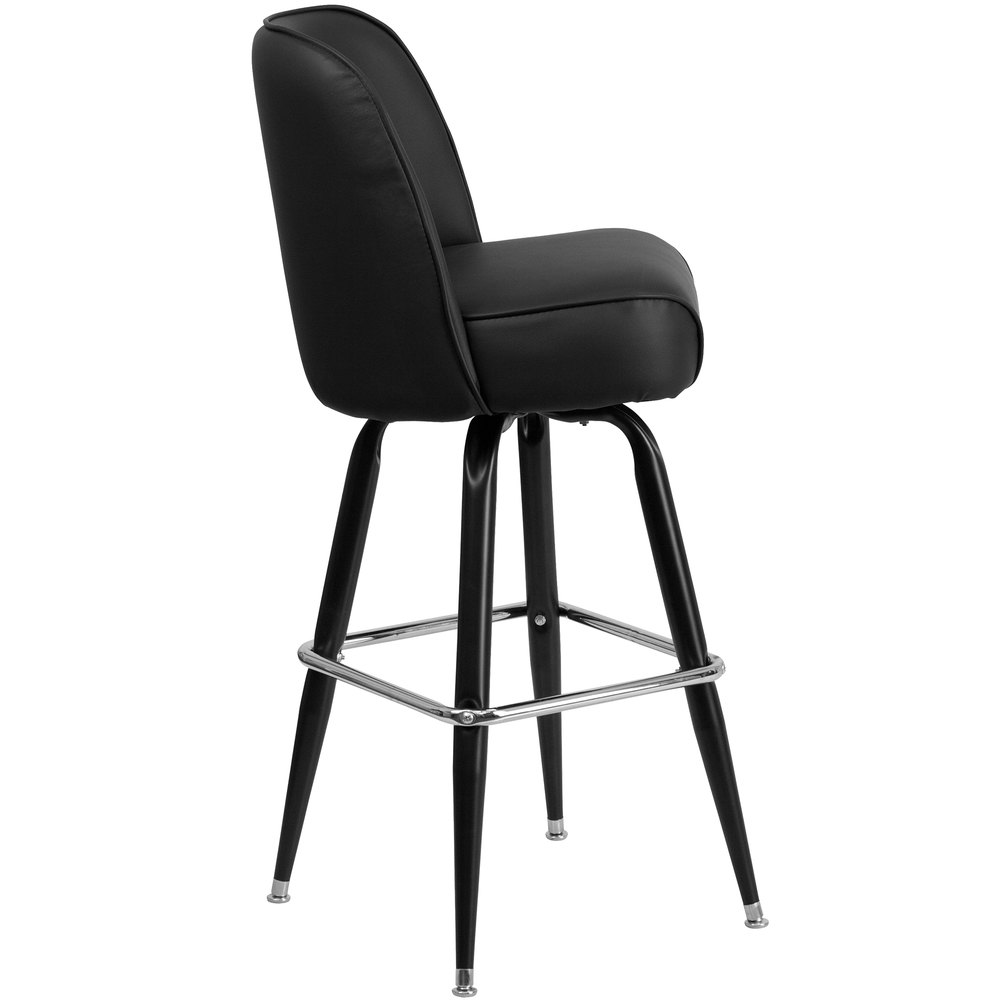 Metal Barstool With 18 1 4 Quot Wide Black Padded Vinyl Swivel