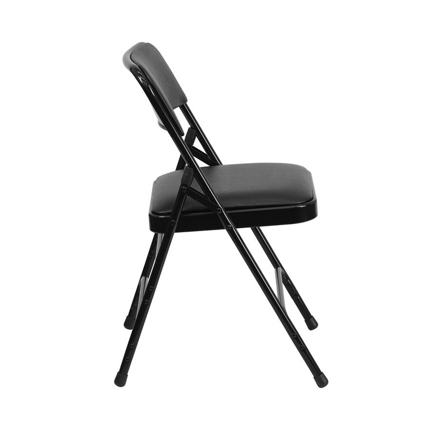 Black Metal Folding Chair With 1 Padded Vinyl Seat
