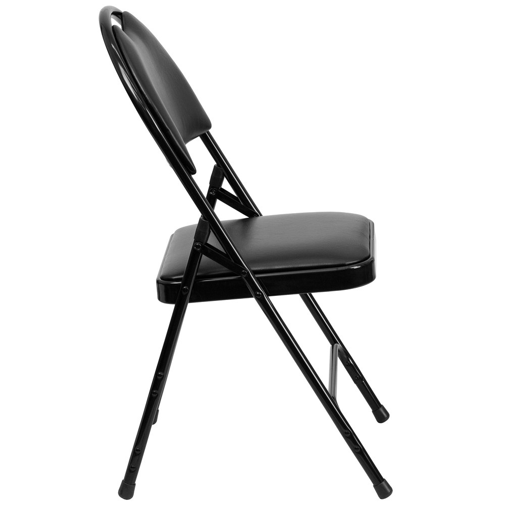 Black Metal Folding Chair With 1 Quot Padded Vinyl Seat With