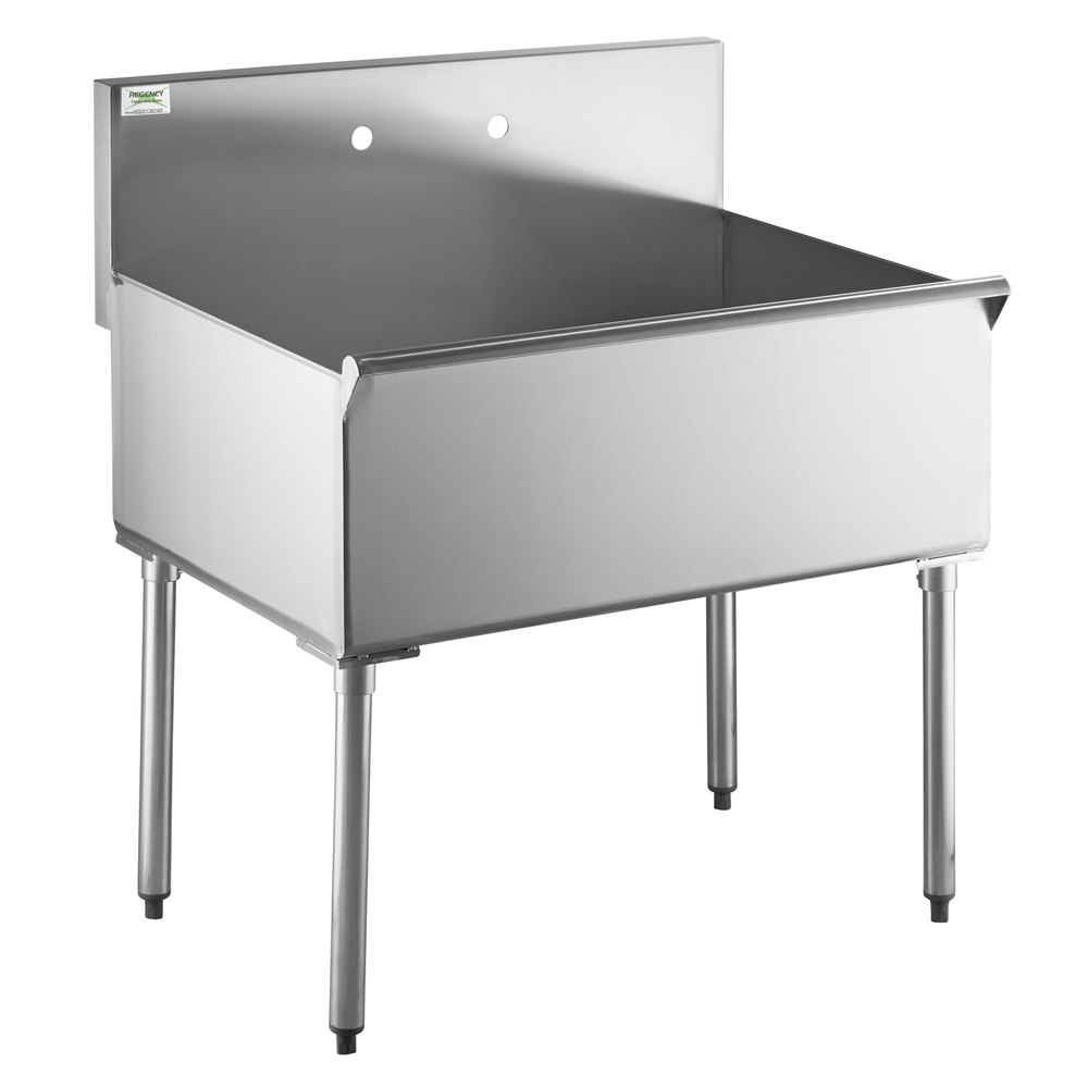 Regency 36 inch 16-Gauge Stainless Steel One Compartment Commercial Utility Sink - 36 inch x 24 inch x 14 inch Bowl