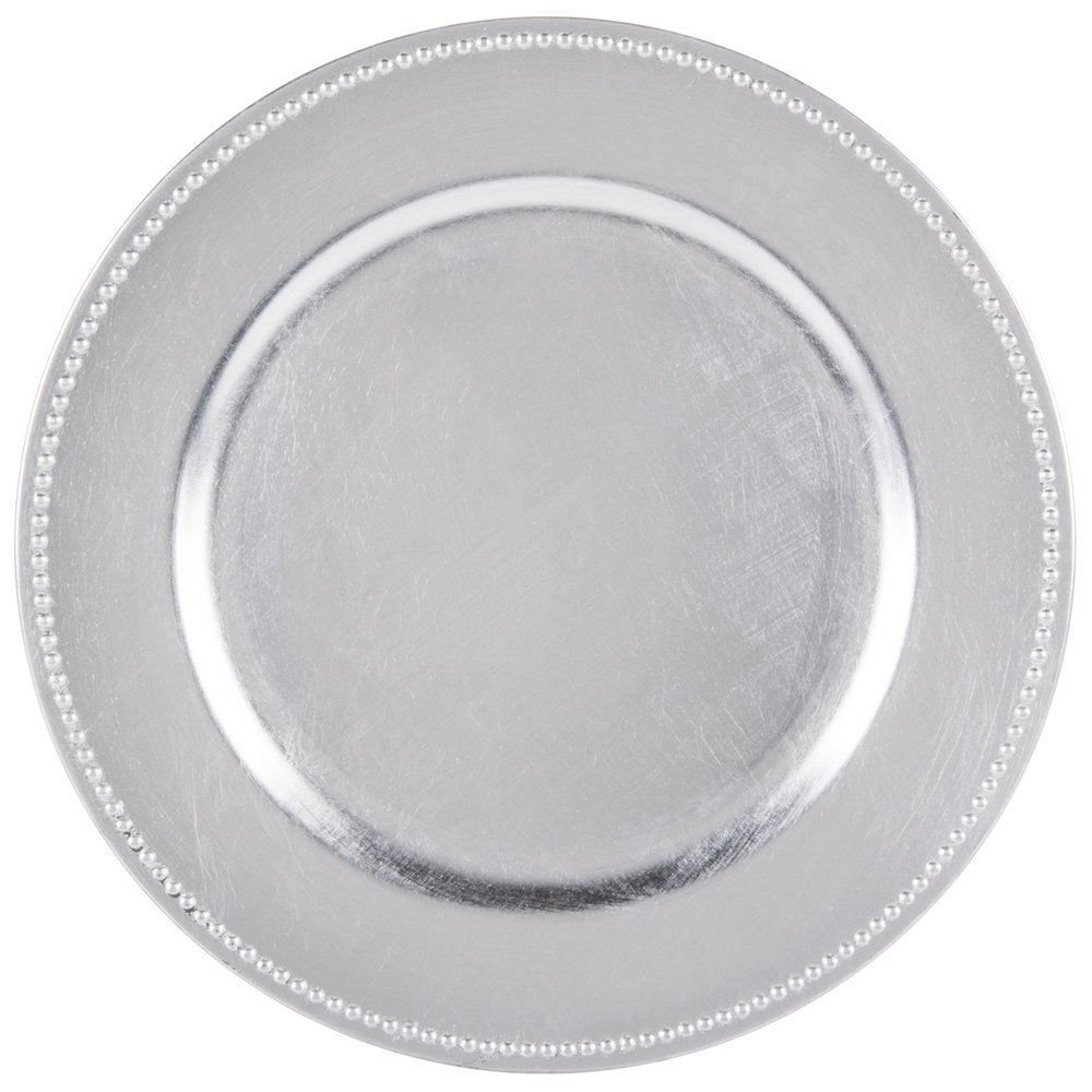 The Jay Companies 13 inch Round Silver Beaded Melamine Charger Plate ...  sc 1 st  WebstaurantStore & Plastic Charger Plates - WebstaurantStore