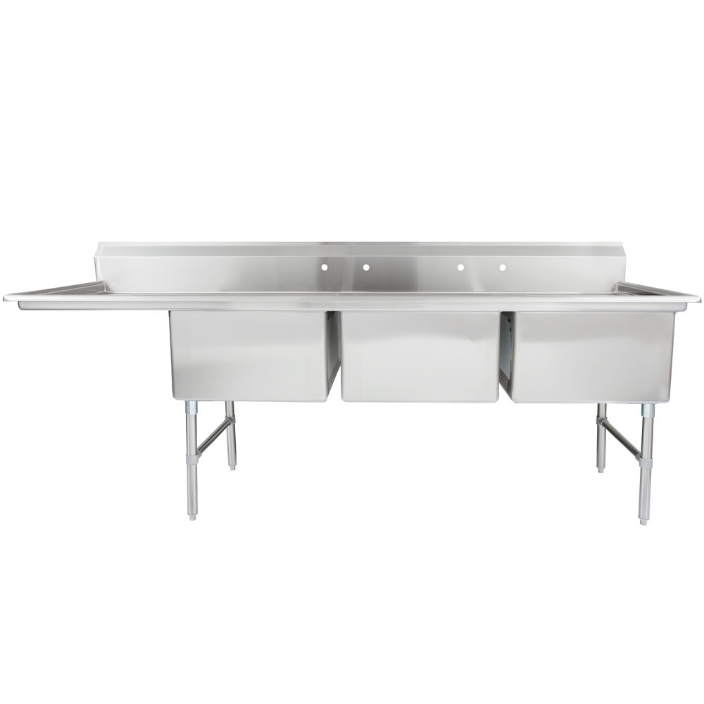 left drainboard regency 102 12 inch 16gauge stainless steel three compartment commercial