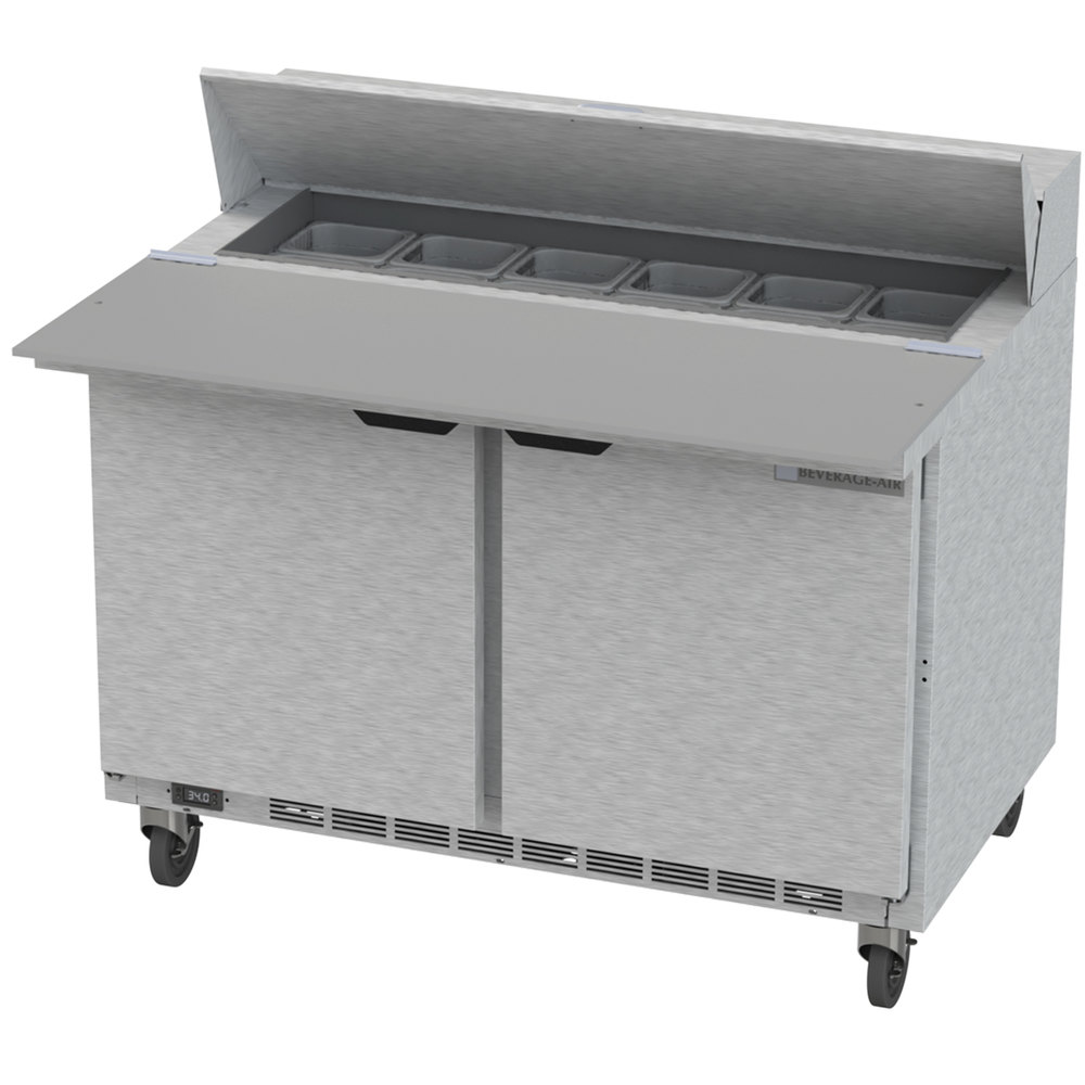 115 Volts Beverage Air SPE48HC 12C Elite Series 48 Inch 2 Door Cutting Top  Refrigerated Sandwich