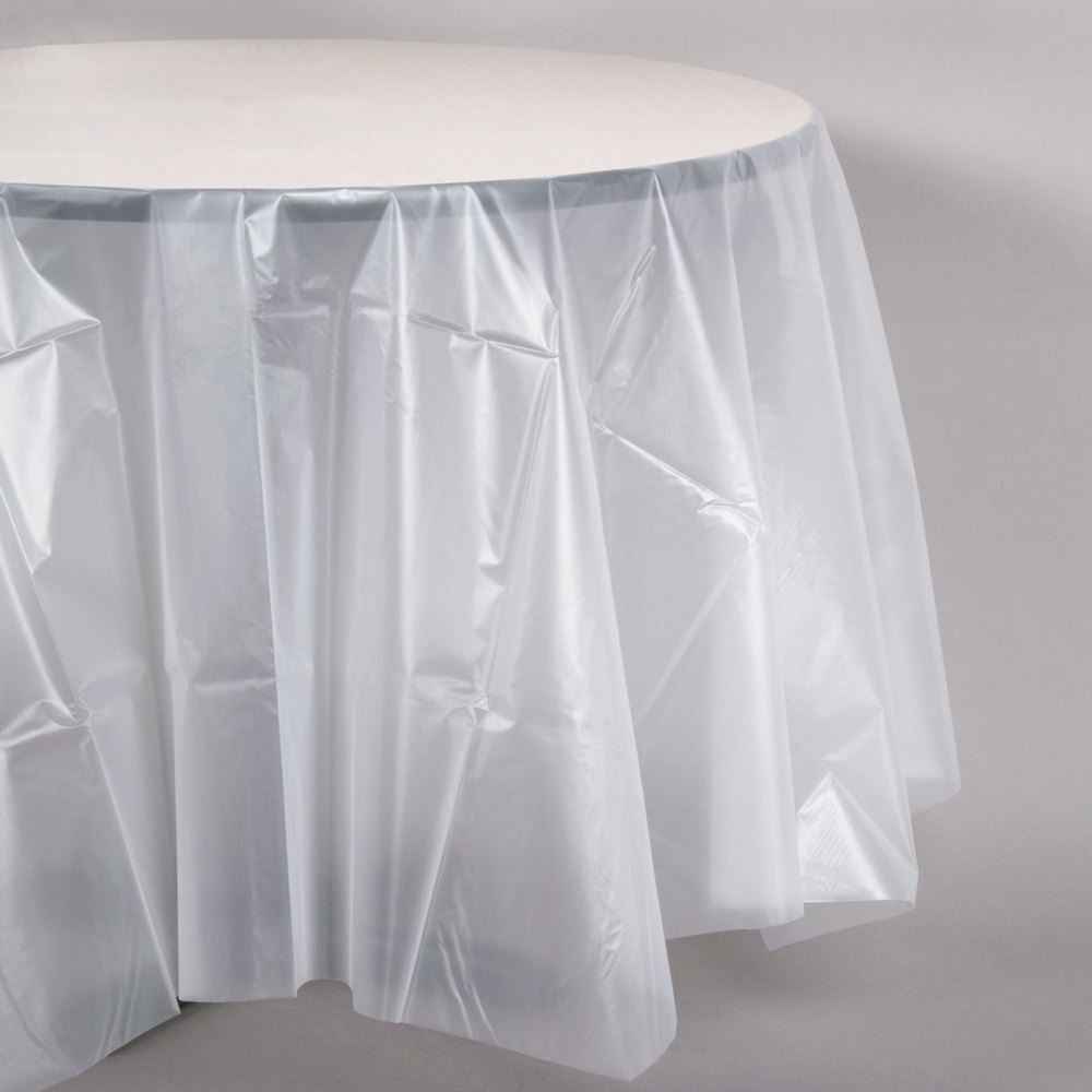 Creative Converting 700418 82 Inch Clear OctyRound Plastic Table Cover    12/Case ...