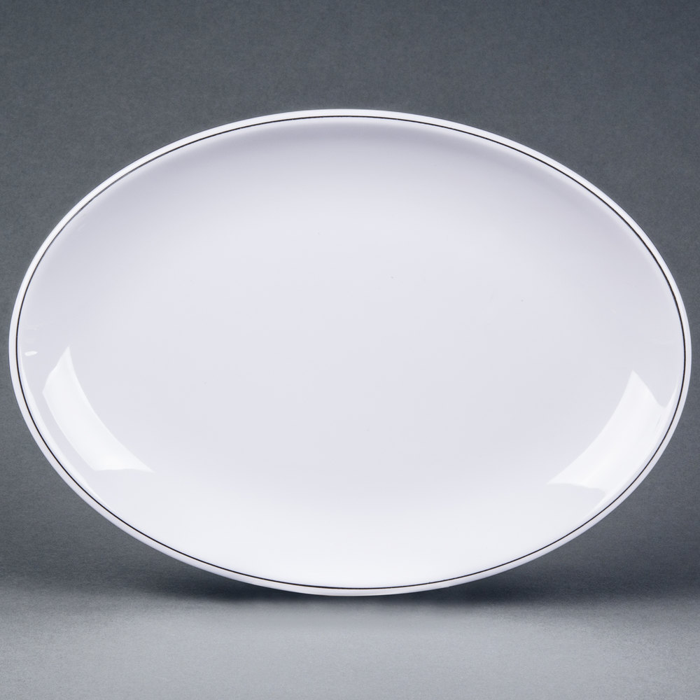Elite Global Solutions D2211L Viva 11 inch x 7 7/8 inch White Oval Plate ... & Oval Dinner Plates - WebstaurantStore