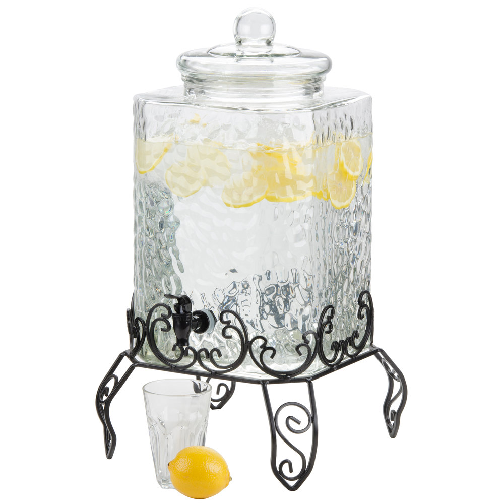Core 5 Gallon Hammered Glass Beverage Dispenser With Metal