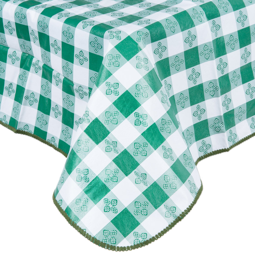 Nice 52 Inch X 90 Inch Green Gingham Vinyl Table Cover With Flannel Back ...