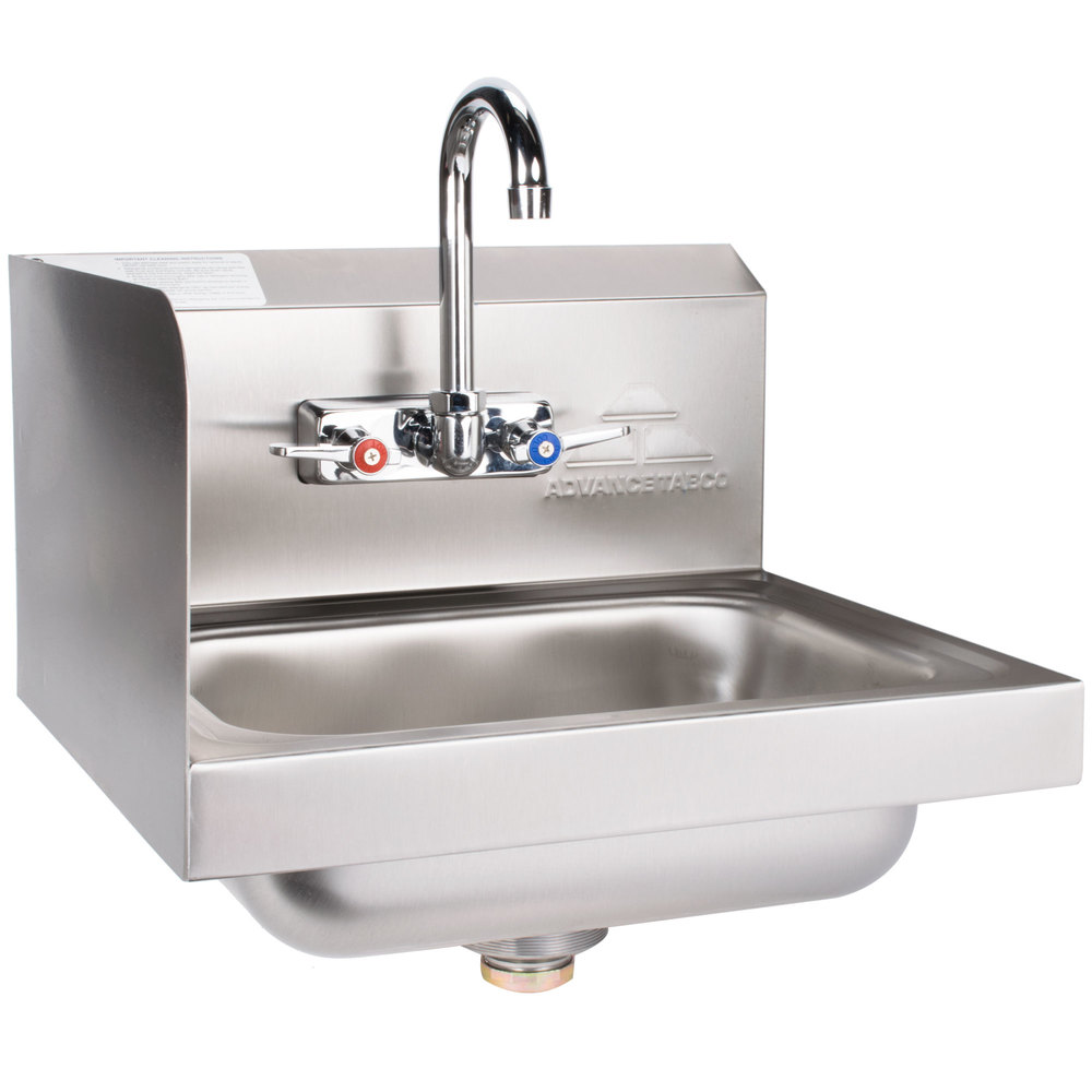 Advance tabco 7 ps 66l hand sink with splash mounted for Splash guard kitchen sink