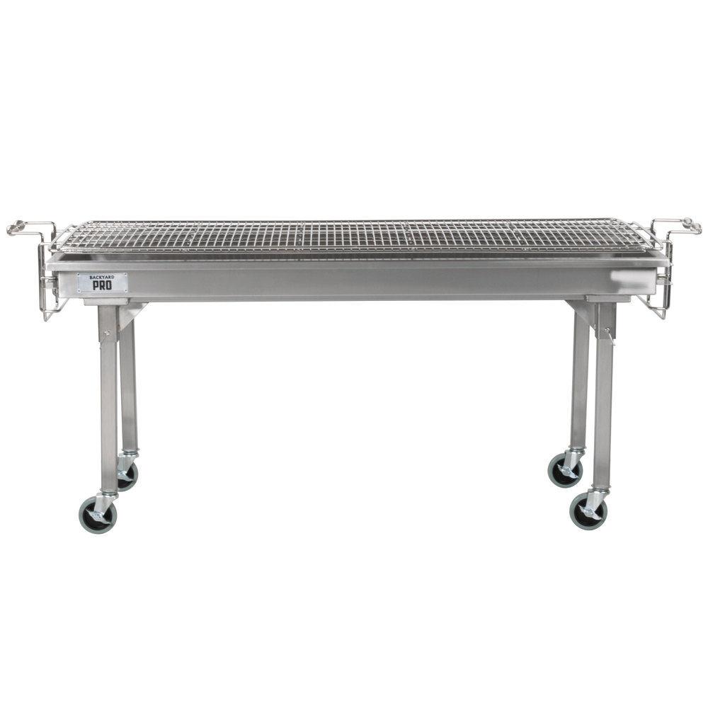 stainless steel charcoal grill on wheels with side handles