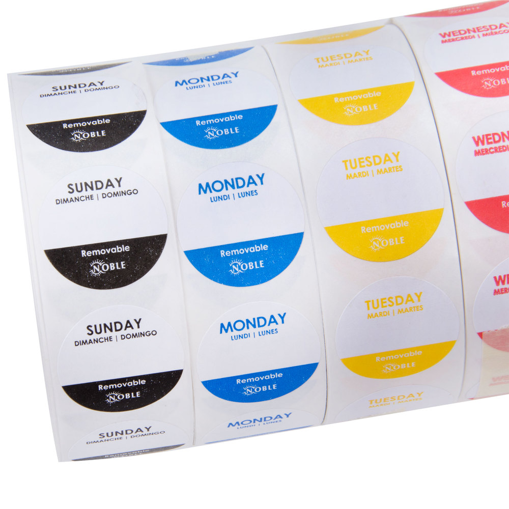 """Noble Products 1"""" Removable Day Of The Week Label Rolls"""
