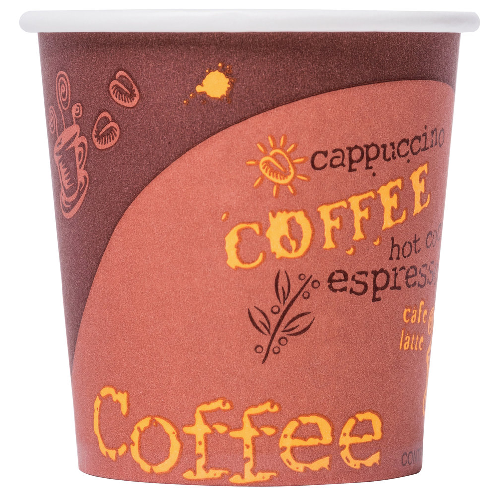 Choice 4 Oz Coffee Print Poly Paper Hot Cup 50 Pack