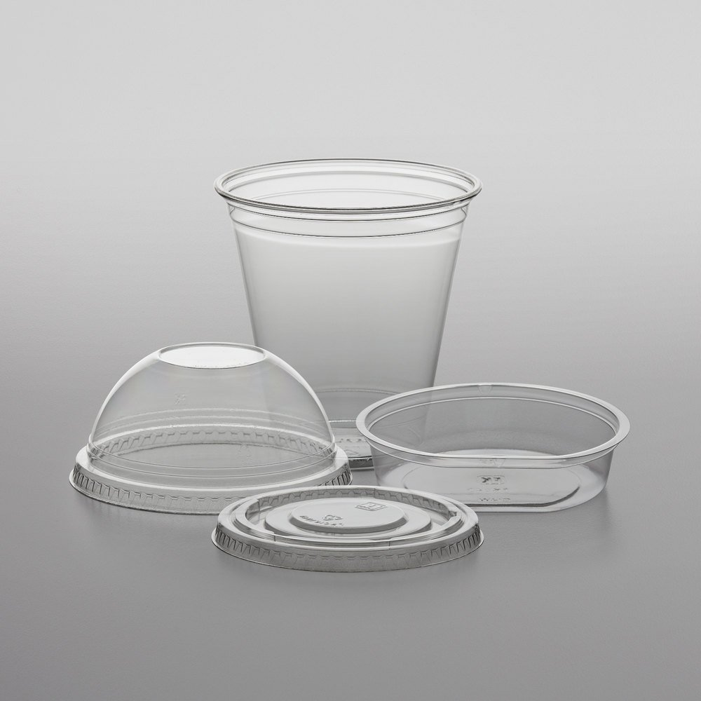12 oz. Parfait Cup with 4 oz. Fabri-Kal Insert, Flat Lid, and Dome Lid - 100/Pack 2