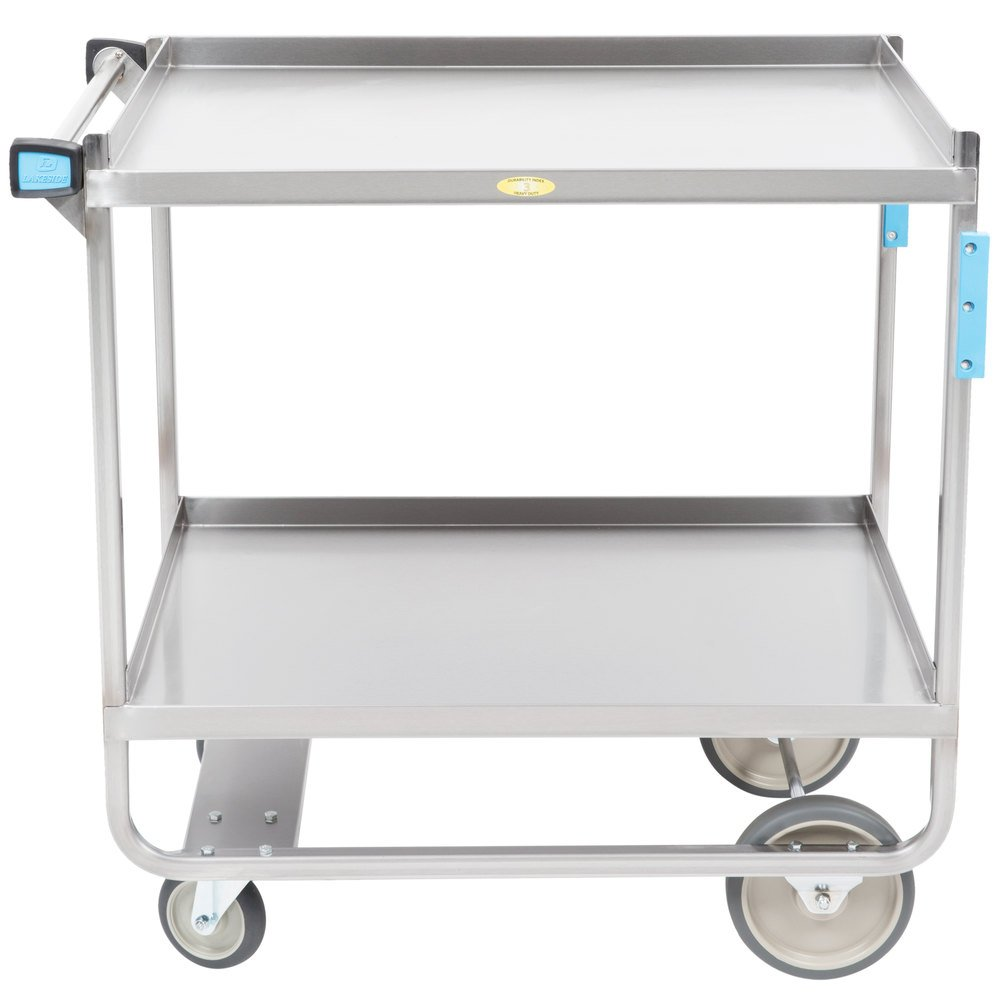Metal Utility Cart: Lakeside 743 Heavy Duty Stainless Steel 2 Shelf Utility