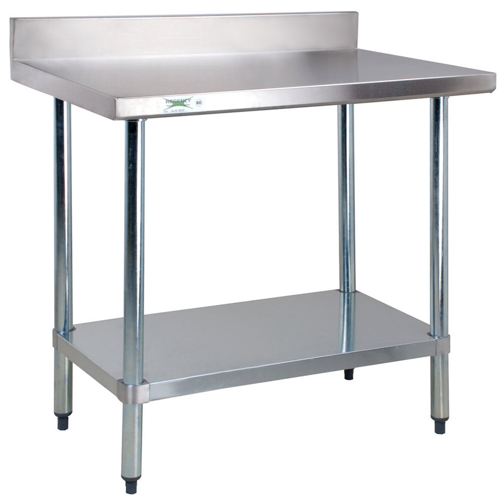 Regency 24 inch x 36 inch 18-Gauge 304 Stainless Steel Commercial Work Table with 4 inch Backsplash and Galvanized Undershelf
