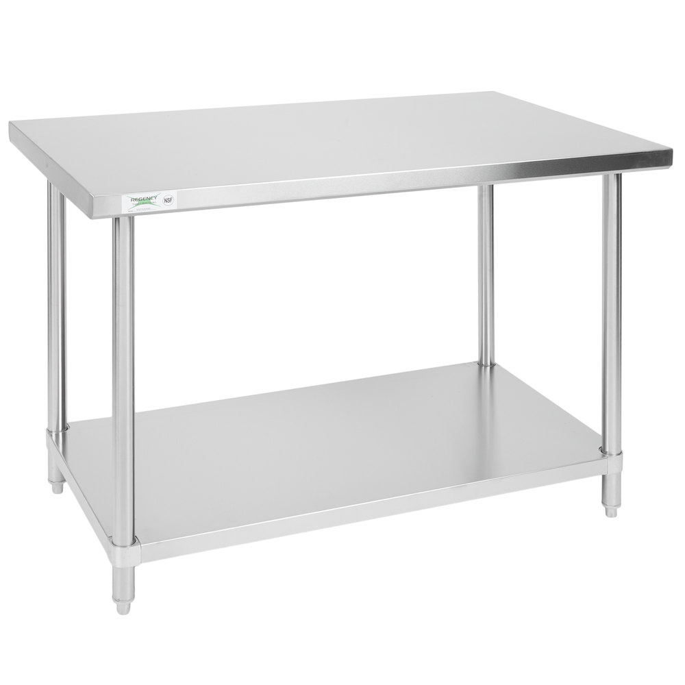 Regency 30 inch x 48 inch All 18-Gauge 430 Stainless Steel Commercial Work Table with Undershelf