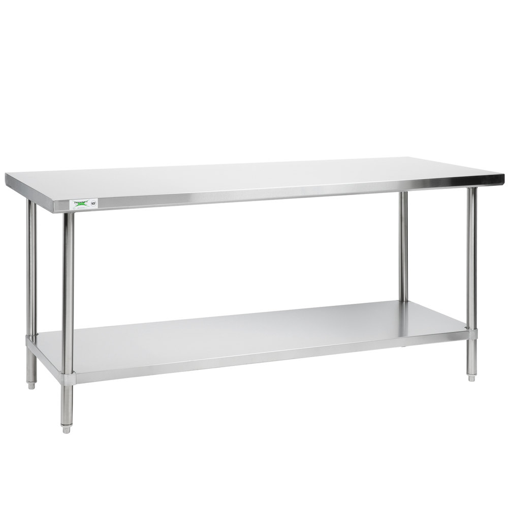 Regency 30 inch x 72 inch All 18-Gauge 430 Stainless Steel Commercial Work Table with Undershelf