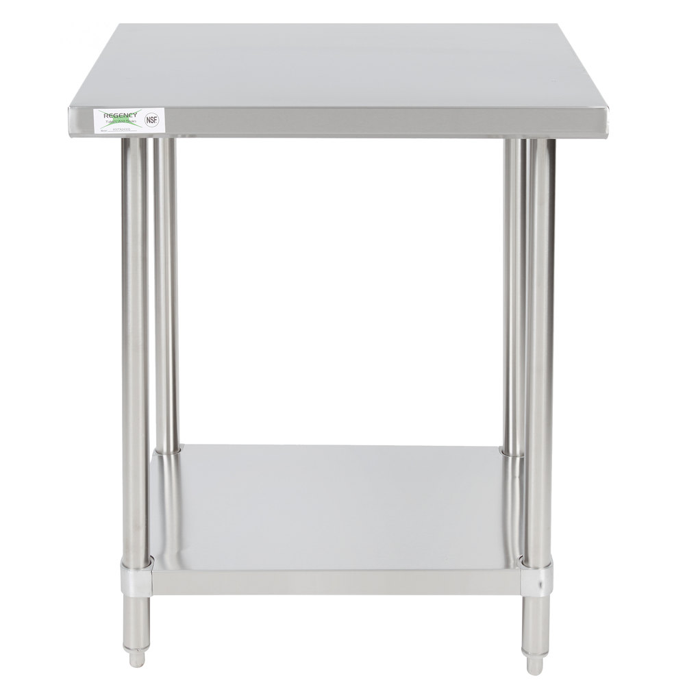 Regency 24 inch x 30 inch All 18-Gauge 430 Stainless Steel Commercial Work Table with Undershelf