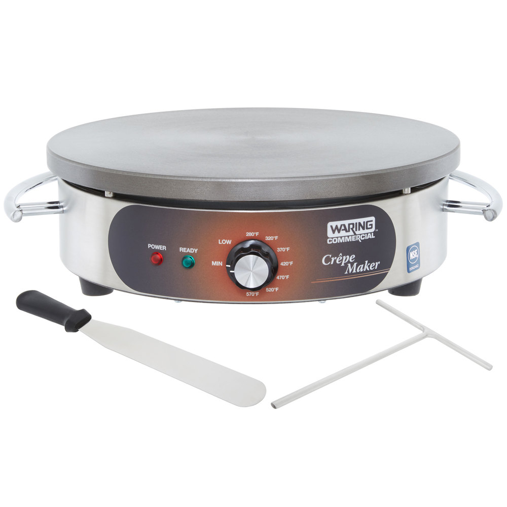 round waring crepe maker with spreader and spatula