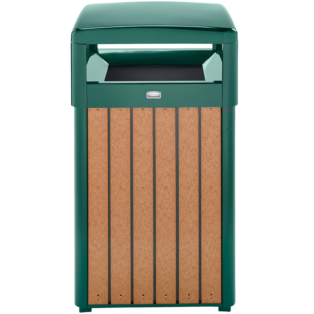 decorative outdoor garbage cans. Rubbermaid FGR34HT50PLEGN Regent 50 Series Hinged Top Empire Green Steel  and Polyethylene Square Waste Receptacle Decorative Outdoor Trash Cans