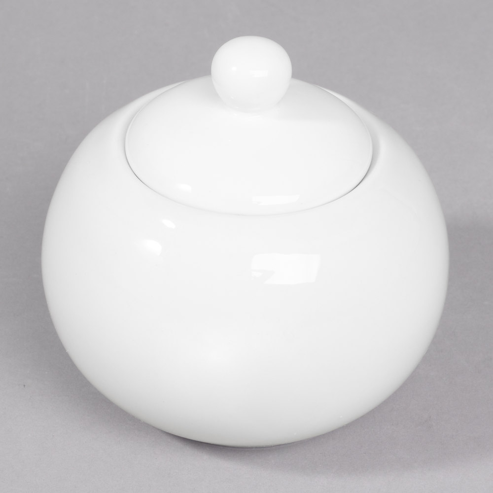 White rounded porcelain sugar bowl with lid