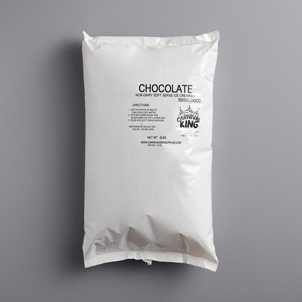 Carnival King Non-Dairy Chocolate Soft Serve Ice Cream Mix 6 lb. Bag - 6/Case