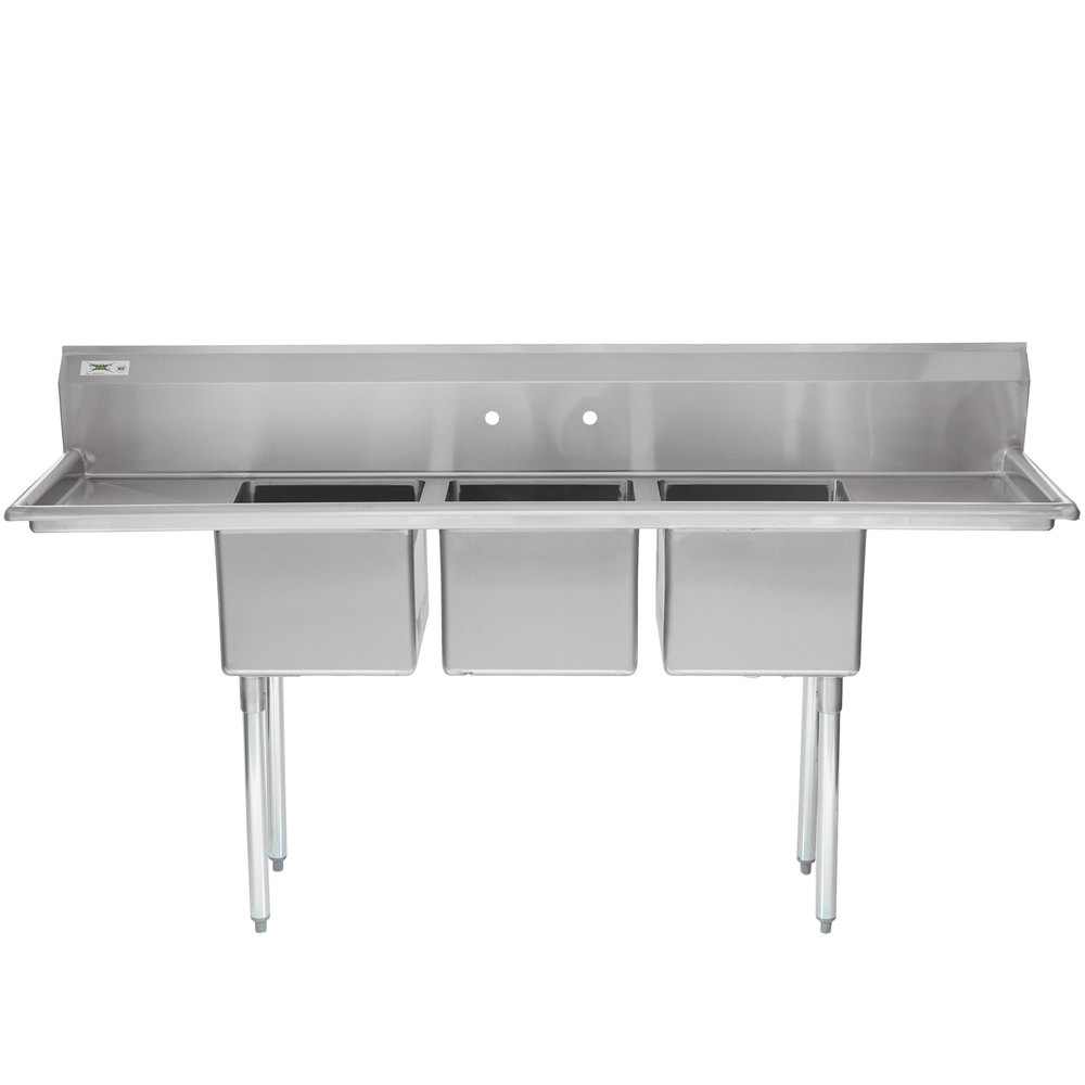 regency 79 inch 16gauge stainless steel three compartment commercial sink with 2 drainboards