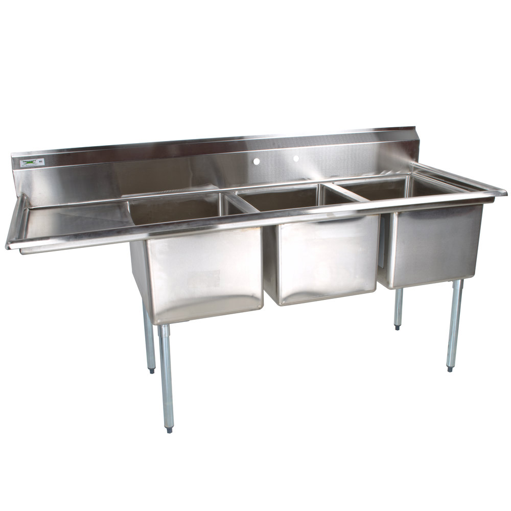left drainboard regency 66 12 16 gauge stainless steel three compartment commercial sink with 1 drainboard 15 x 15 x 12 bowls - Three Compartment Kitchen Sink