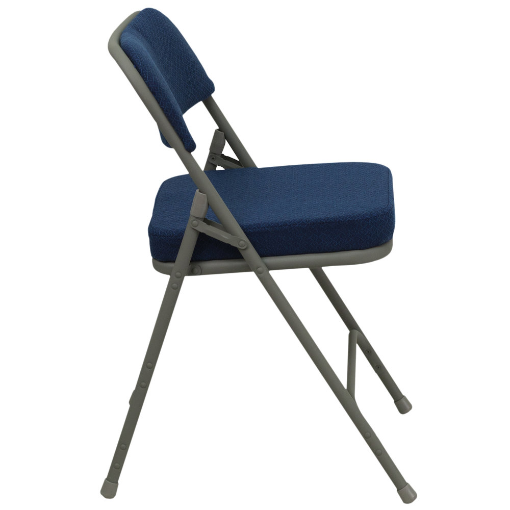 navy blue metal folding chair with 2 1 2 padded fabric seat. Black Bedroom Furniture Sets. Home Design Ideas