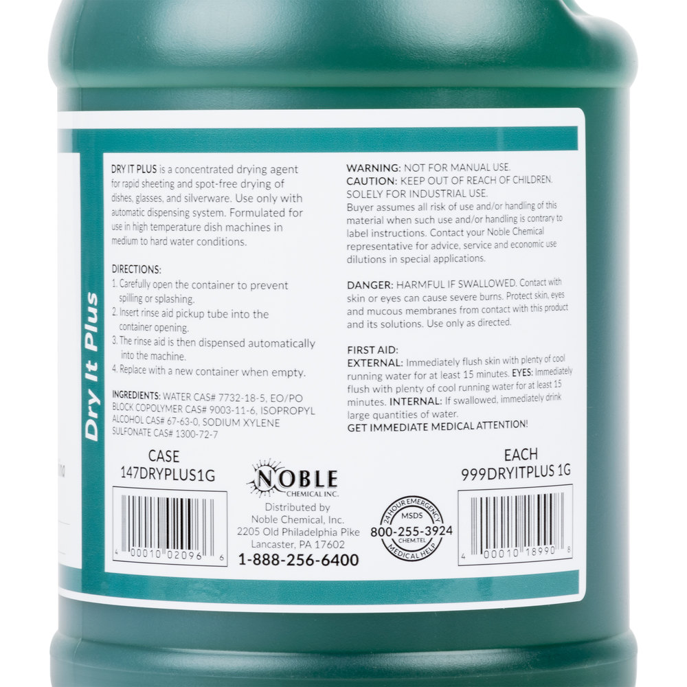 1 Gallon Noble Chemical Dry It Plus Rinse Aid For High