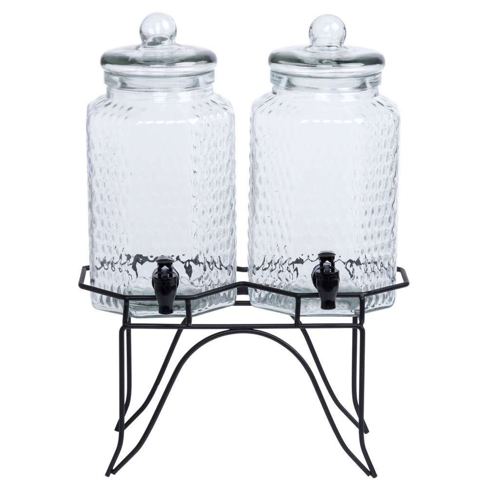 Core Double 1 Gallon Glass Beverage Dispenser With Metal Stand