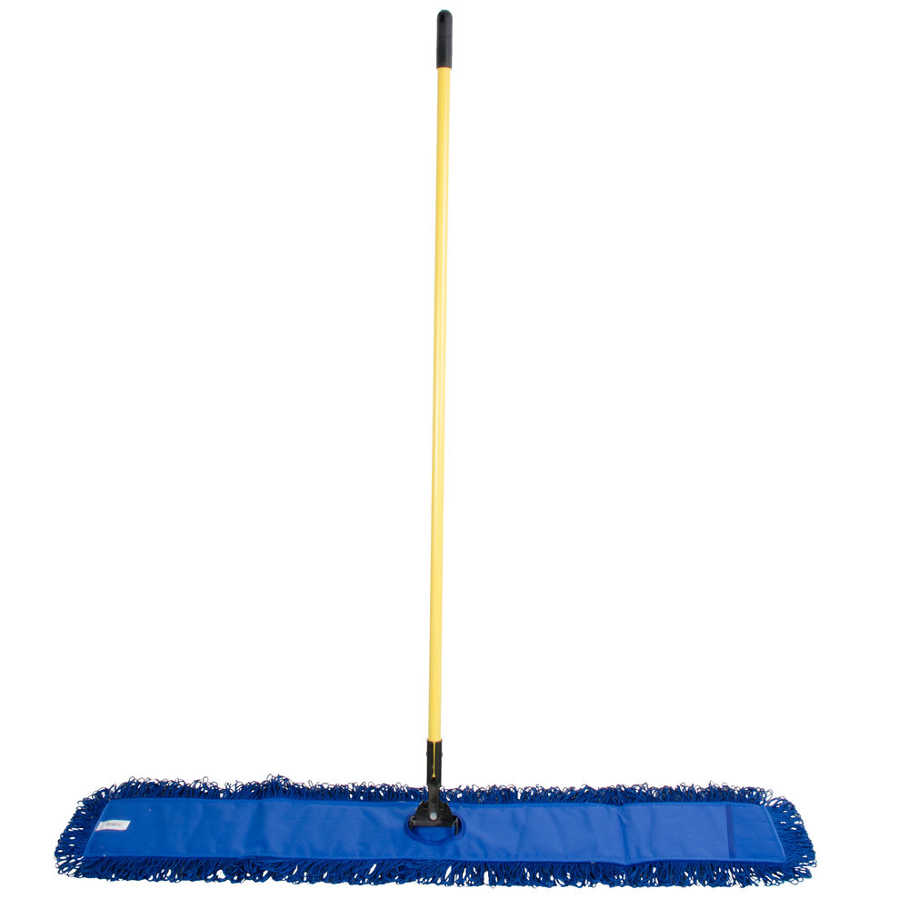 48 Quot Blue Microfiber Dry Pocket Dust Mop With Canvas Back