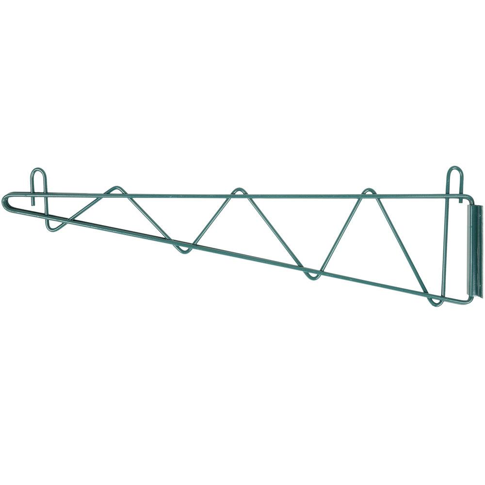 Regency 24 inch Deep Wall Mounting Bracket for Green Epoxy Wire Shelving - 2/Set