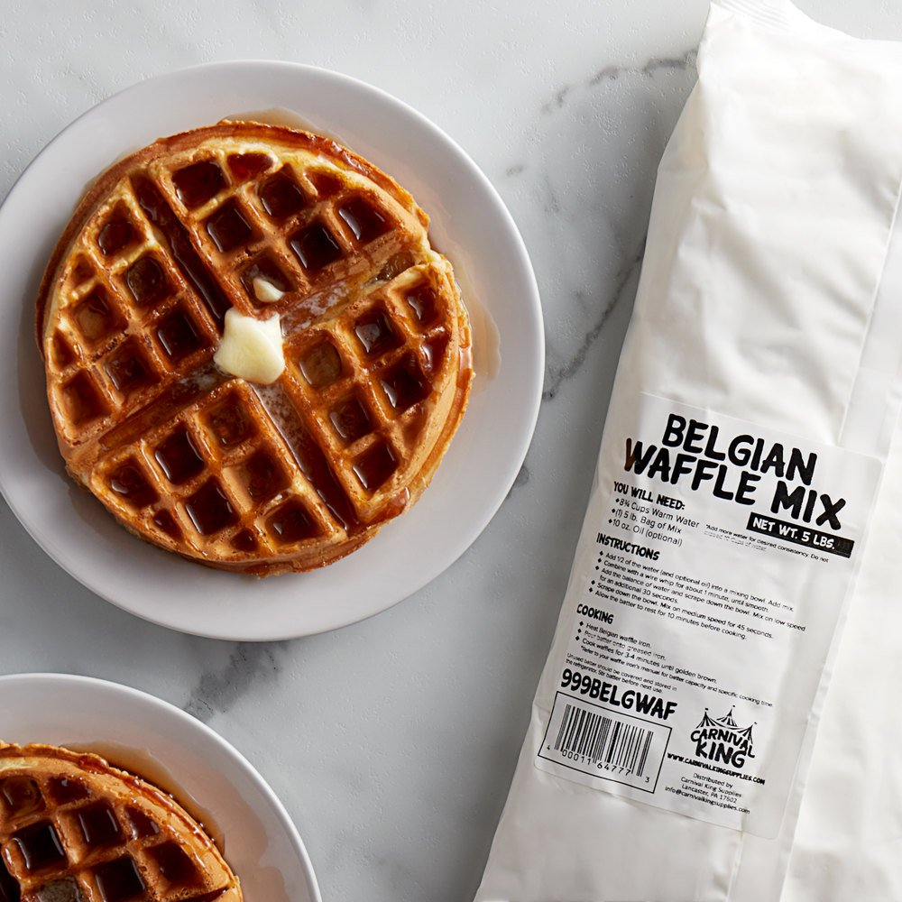 Carnival King Belgian Waffle Mix 5 lb. Bags  - 6/Case