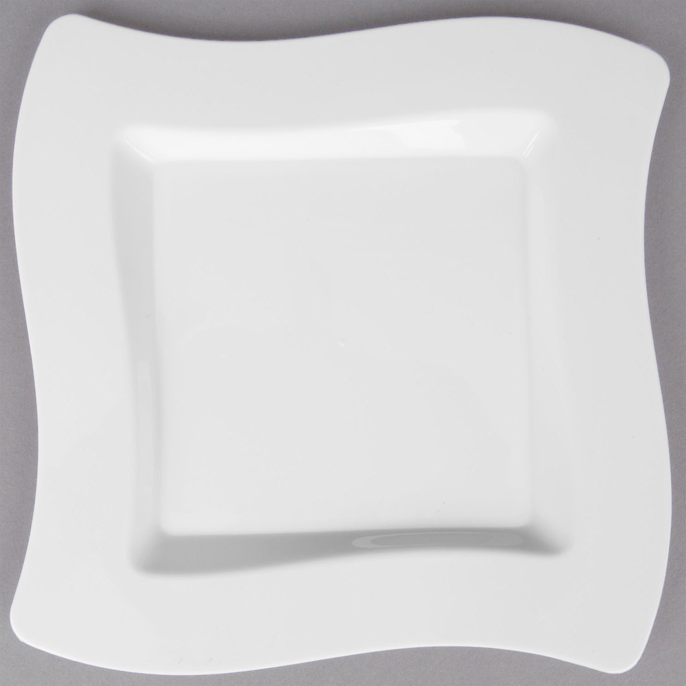 Fineline Wavetrends 106-WH 6 1/2 inch White Customizable Plastic Square Plate ... & Black Square Plastic Plates - WebstaurantStore