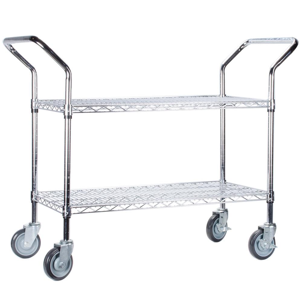 Regency 18 inch x 42 inch Two Shelf Chrome Heavy Duty Utility Cart