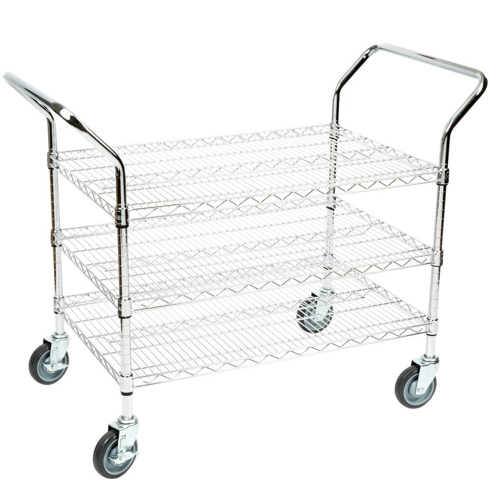 Regency 24 inch x 36 inch Three Shelf Chrome Heavy Duty Utility Cart