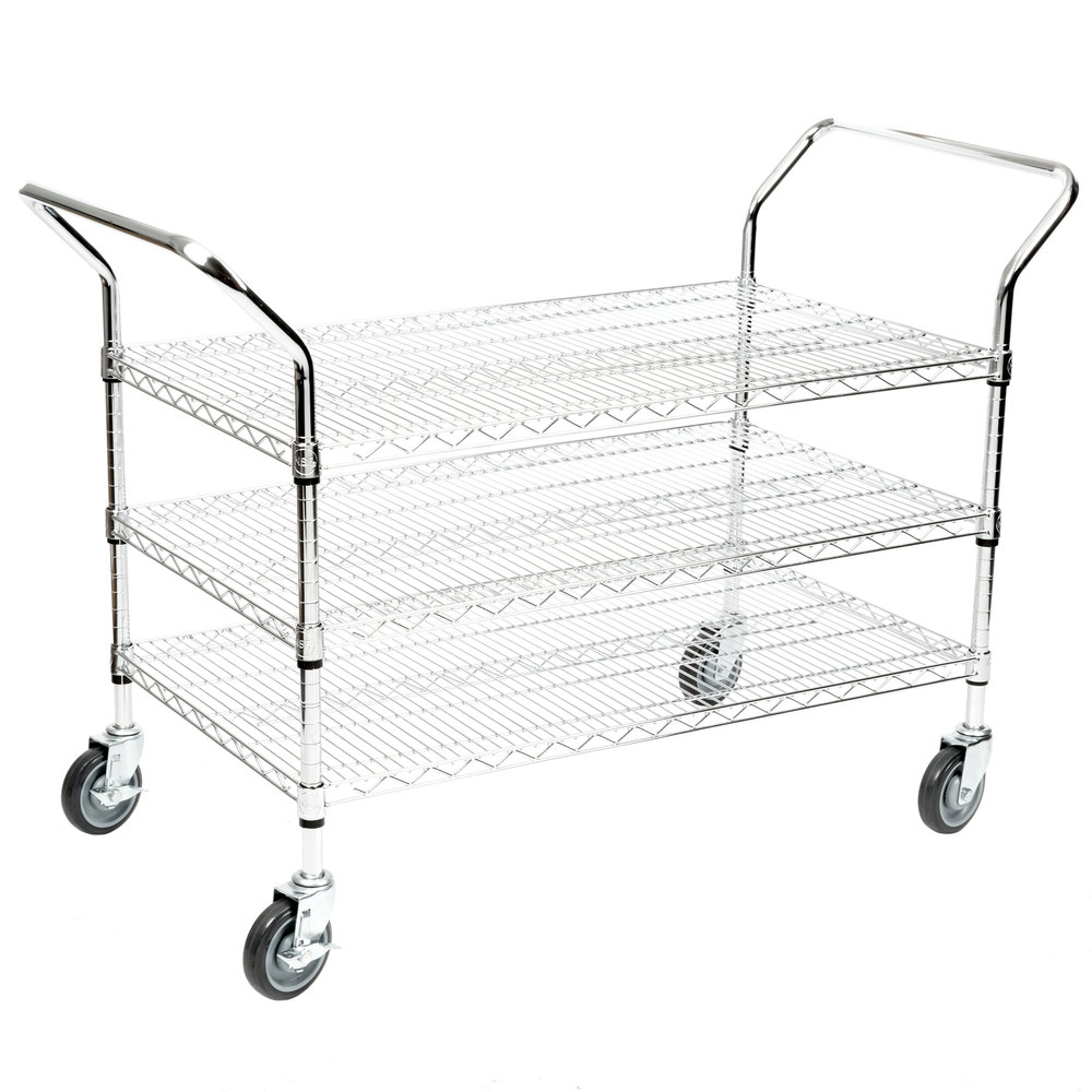 Regency 24 inch x 42 inch Three Shelf Chrome Heavy Duty Utility Cart