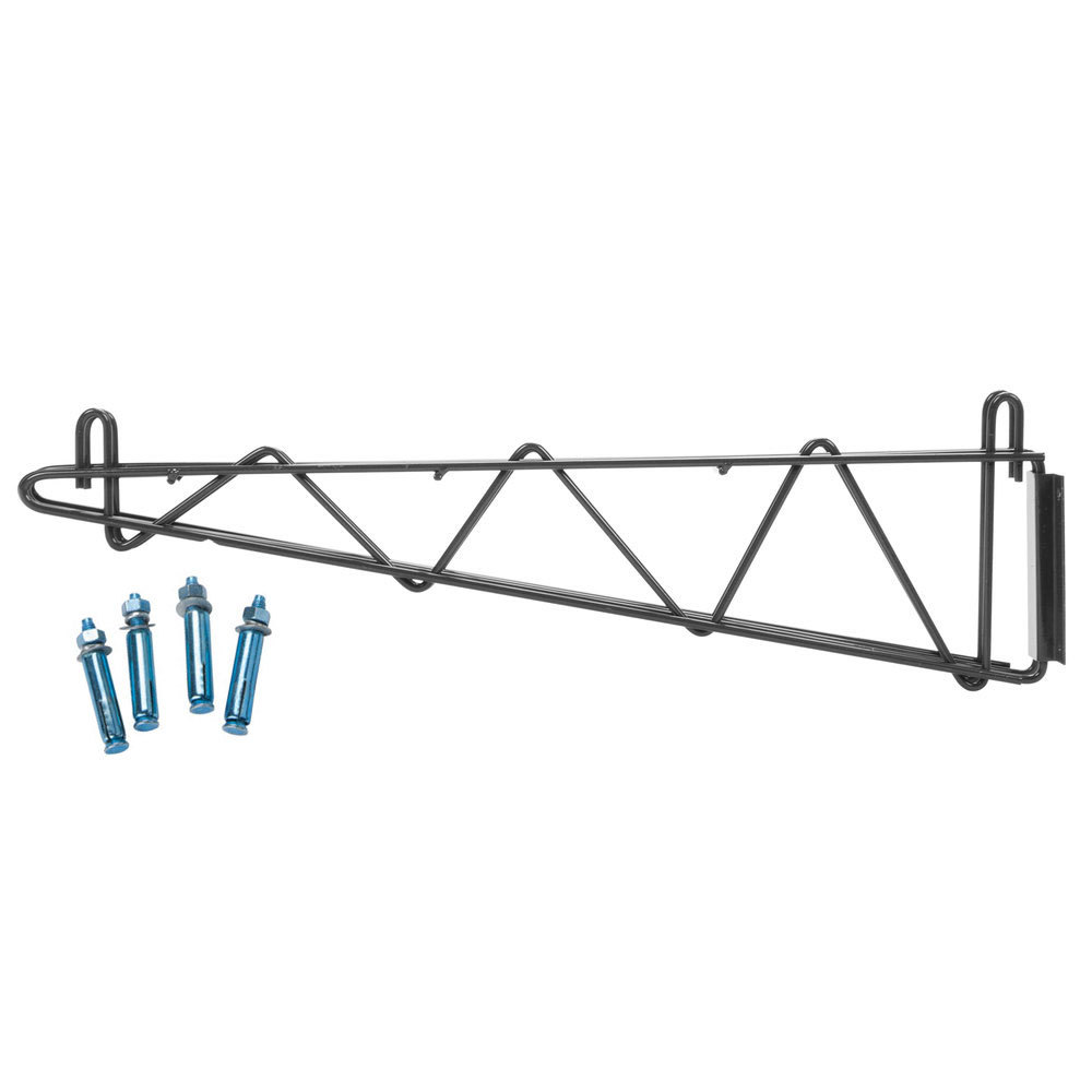 Regency 24 inch Deep Double Wall Mounting Bracket for Adjoining Black Epoxy Wire Shelving