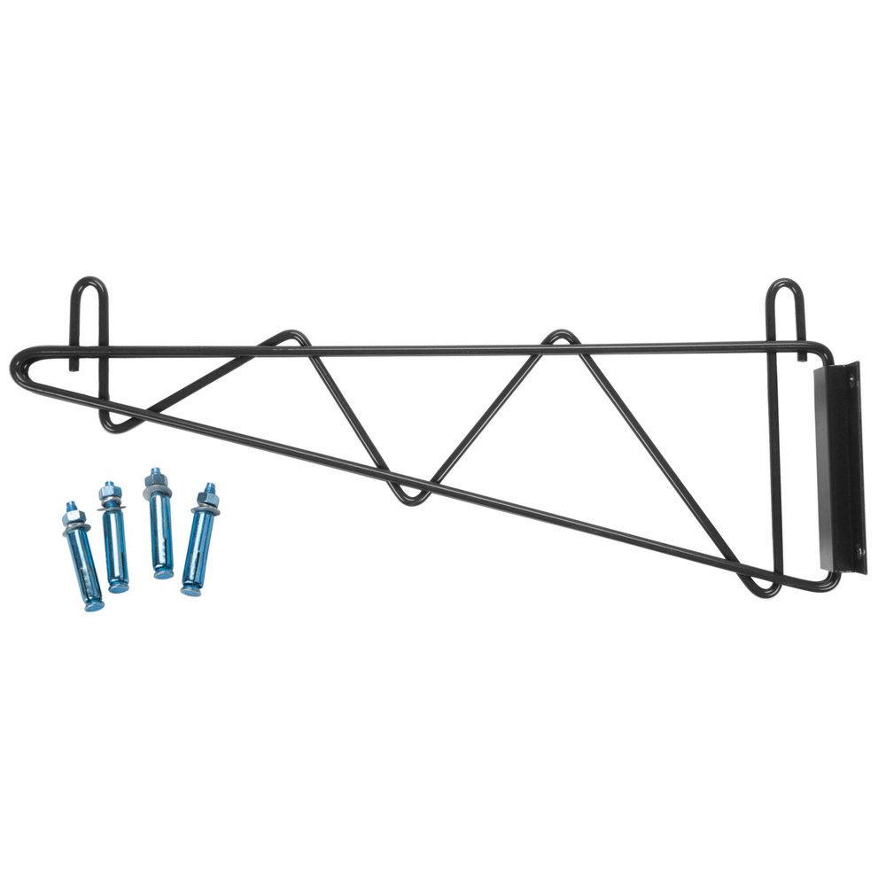 Regency 18 inch Deep Wall Mounting Bracket for Black Epoxy Wire Shelving - 2/Set